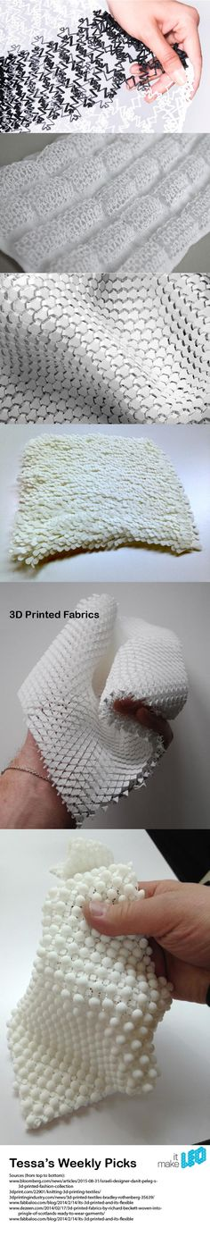 3D printed fabrics are becoming more and more intricate, flexible and compatible with the body and its movement. Here are a few examples using the technology to it's fullest.
