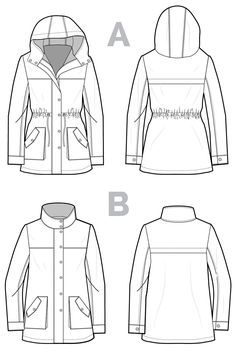 The Kelly Anorak // Jacket Sewing Pattern - Technical Flats // Closet Case Patterns