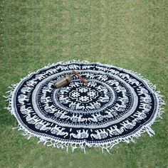 Indian White Elephant Hippie Mandala Roundie Beach Throw Tapestry