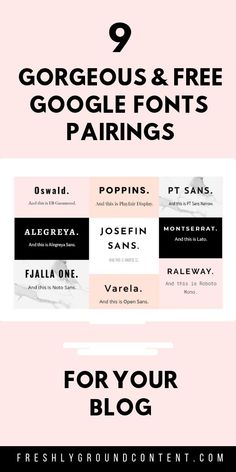Looking for gorgeous web fonts for your blog? Try these 9 beautiful Google fonts pairings. These perfectly balanced combos will elevate your blog's design and branding instantly...and they're all free! Check out the blog for even more design tips for your blog or website. #wordpress #webdesign