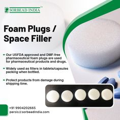 We offer a wide range of Foam plugs in block/cylindrical shapes made up of polyurethane. These are widely used as fillers in tablets/capsules packing when bottled. Our USFDA approved and DMF-free pharmaceutical foam plugs are used for pharmaceutical products and drugs like Aspirin Drug packaging to protect products from damage during shipping time. #pharmaceuticalindustry Our contact details are as mentioned below: www.sorbeadindia.com persis@sorbeadindia.com +91 9904202665 Drug Packaging, Plastic Caps, Aspirin, Bottle Stoppers, Plugs, Packing, Range, Shapes, Free