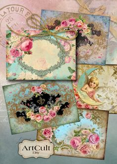 Printable Gift Tags SHABBY VICTORIANA Digital Collage Sheet 2.5x3.5 inch size Greeting Cards Ephemera Vintage Paper Craft Jewelry Holders