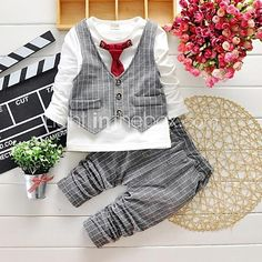 Boy's Cotton Super Spring / Fall Long Sleeve Simulation II Suit Blouse Pants Twinset 2017 - $22.87
