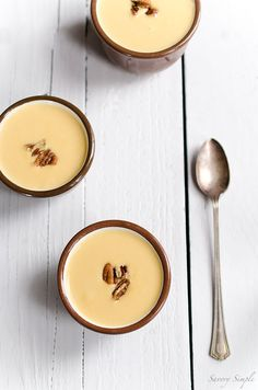 This Cream of Winter Squash Soup with Spicy Candied Pecans is rich, comforting and a perfect holiday appetizer.