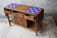 Remarkably Rare Broyhill Brasilia Drop Leaf Walnut Buffet/ Server Cart (Dove Tile Inlay 1960's)
