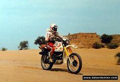 In 1980 Martine de Cortanze race her Yamaha 500 in the Dakar rally across the desert!