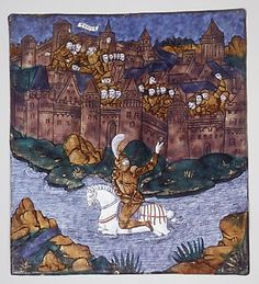 Turnus, Overwhelmed by the Trojans, Crosses the River to Return to His Companions (Aeneid, Book IX) Date: ca. 1530–35 Medium: Painted enamel on copper, partly gilt