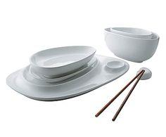 Set da sushi in ceramica Magppie bianco - 6 pz