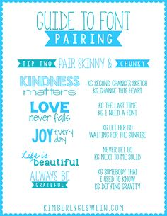 Font Pairing Guide #2 ~~ Pair Skinny & Chunky ~~ {10 Free fonts w/ easy download links}