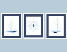 Sailboats and ship's wheel Modern Nautical Wall Art by YassisPlace, $36.99