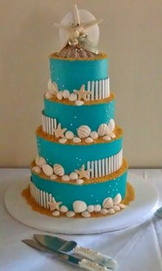 Beach Themed Wedding Cake By ohsugarsweets on CakeCentral.com