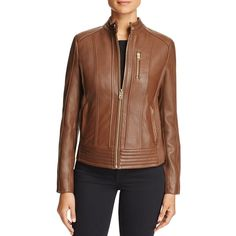 Michael Michael Kors Leather Moto Jacket found on Polyvore featuring polyvore, women's fashion, clothing, outerwear, jackets, mocha, rider jacket, rider leather jacket, moto jacket and 100 leather jacket