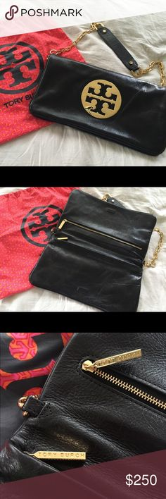Tory Burch Reva Clutch BEAUTIFUL, PRISTINE CONDITION! Tory Burch Reva Clutch with Black Leather and Gold Accents. Dust bag included. Only used for special occasions less than a handful of times. Zero scratches/stains. Smoke free home. Not interested in trades. 100% Authentic Tory Burch Bags Clutches & Wristlets