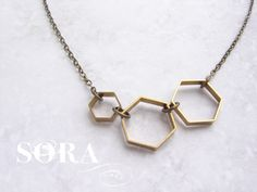 Vintage Honeycomb necklace - hexagon necklace, modern geometric necklace, simple everyday necklace