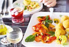 Ofenpaprika mit Spinat und Kapern