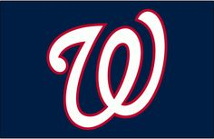 Washington Nationals Cap Logo (2005) - A curly W in white with a red outline on blue, worn on the Washington Nationals road blue caps starting in the 2005 season