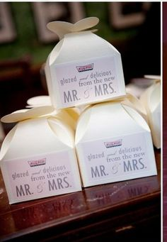 Krispy Kreme wedding favors- too cute I would so do this for my wedding :)