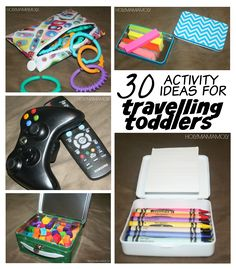30 Ideas For Travelling Toddlers - Travelling to Mexico with our 19 month old, these activities will be spread out over airports, airplanes, resort transfers, as well as the hotel room. Airplane Activities, Road Trip Activities, Infant Activities, Activities For Kids, Activity Ideas, Toddler Travel, Toddler Fun, Travel With Kids, Family Travel