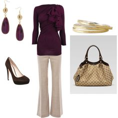 """Winter / Fall Eggplant Work Outfit"" by ggdesigns on Polyvore"