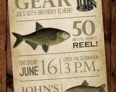 Fishing Birthday Invitation  Printable Fisherman Birthday