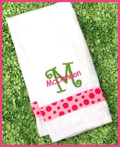 Monogrammed  DISH TOWEL Pink and Green  Kitchen Towel  by abbytrey, $17.95