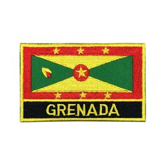 Grenada Flag Patch Embroidered Patch Gold Border Iron On patch Sew on Patch Bag Patch meet you on Fleckenworld.com