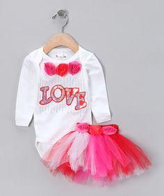 Love this White & Pink 'Love' Bodysuit & Tutu - Infant by Brookie Jos on #zulily! #zulilyfinds