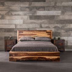 The modern, low profile design of this bed has charming details that create a huge presence. The sleek, linear structure of the Romy bed allows the unique wood grain pattern in the thick slabs of Indian rosewood to really stand out. Although modern in design, this bed could serve equally well as a traditional piece. Readers will especially appreciate the design of the Romy bed since the headboard is angled just right for sitting up comfortably in bed for hours.
