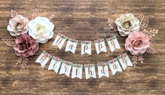 Happy Birthday Banner Boho Hand made Happy Birthday Banner w.- Happy Birthday Banner Boho Hand made Happy Birthday Banner with flowers - 1st Birthday Decorations, 1st Birthday Banners, Baby Birthday, First Birthday Parties, First Birthdays, Happy Birthday Flower, Party Banners, Paper Flowers Diy, Wall Flowers