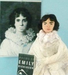 Emily Dickinson Doll Miniature in White Dress Art Collectible