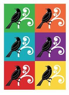 """Pop Art Print """"Pop Tui"""" by NZ artist Greg Straight for sale at NZ Fine Prints. Pop Art Posters, Poster Prints, Bird Prints, Framed Art Prints, Multicoloured Art, Pop Art Background, Maori Patterns, New Zealand Art, Nz Art"""