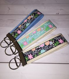 Christian Key FOB / KeyChain / Wristlet Wrist Lanyard - Trust in the Lord withh all your heart Proverbs - sunday school gift Wrist Lanyard, Keychain Wristlet, Gifts For Coworkers, Gifts For Wife, Duct Tape Crafts, Beaded Lanyards, Letter Charms, Machine Embroidery Applique, Gifts For Office