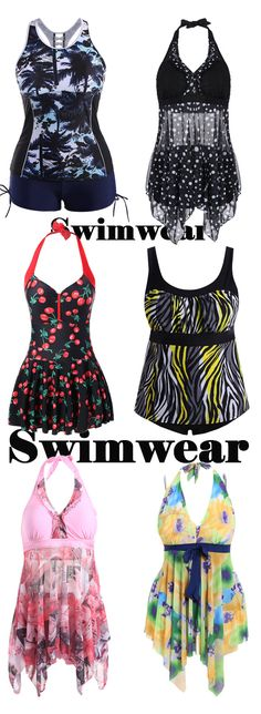 Plus Size Print Moulded Tankini Set