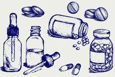 Ad: Therapeutic drugs, pills by LineworkStock on Pill bottle Spilling pills on to surface - Open medicine bottle with a dropper - White pills - The works performed in two styles: doodle Pill Bottles, Medicine Bottles, Drug Tattoos, Tatoos, Art Sketches, Art Drawings, Drugs Art, Illustration Inspiration, Bottle Drawing