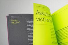 Victims Charter - mike collinge - design / identity / art direction #neon #green #spread #colour