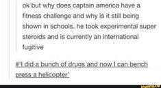 #marvel, #tumblr, #funny OKAY BUT WHY DOES CAPTAIN AMERICA HAVE A FITNESS CHALLENGE?!