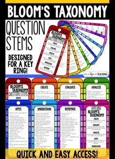 Revised Blooms Taxonomy Question Stems for Key Ring Revised Blooms Taxonomy Questions Stems are designed for a key ring. Laminate, hole punch at the top and put on a key ring for fast and easy access to question stems - anytime! Teaching Activities, Teaching Strategies, Teaching Tips, Instructional Strategies, Instructional Technology, Teaching Art, Critical Thinking Activities, Differentiated Instruction, Instructional Design