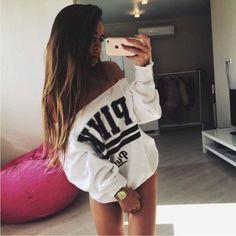 """ Pink ""  Women's Trending Popular Fashion Sexy Loose Off Shoulder Boat Neckline Victoria Secret Printed Sweatshirt Shirt Top Blouse _ 9323"