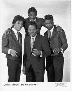 Jimi Hendrix: Press shot for Curtis Knight and the Squires from 1965, featuring a young Jimi Hendrix.