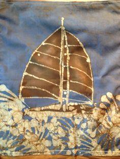 """Batik 49'er Brown Sail Wall Hanging 14"""" x 17"""" on Etsy, $25.00"""