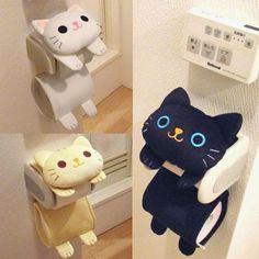 Cat Toilet Paper Holder Roll Storage Cover / Black Tiger Kitty / Fluffy Kawaii #Meiho