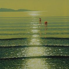 Best Print.  Watery Sunshine with Buoys by Mark A Pearce.  Reduction Linocut £450