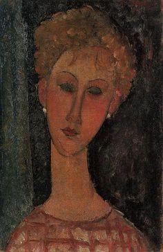'Eine blonde tragende Ohrringe', öl auf leinwand von Amedeo Modigliani (1884-1920, Italy)