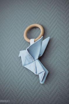 Wooden teething ring toy Origami Crane - Organic teether wood cotton - 🌟Tante S!fr@ loves this📌🌟Wooden teething ring toy Origami Crane – Organic teether wood c - Origami Ball, Origami Butterfly, Fabric Origami, Diy Origami, Origami Tutorial, Origami Ring, Pochette Diy, Wooden Teething Ring, Diy Bebe