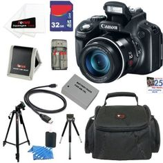 Canon PowerShot SX50 HS 12.1 MP Digital Camera with 50x Optical IS Zoom + NB-10L Battery + 9pc Bundle 32GB Deluxe Accessory Kit