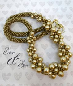 Kumihimo+braided+necklace+gold+beads+by+EstherandEllenShop+on+Etsy
