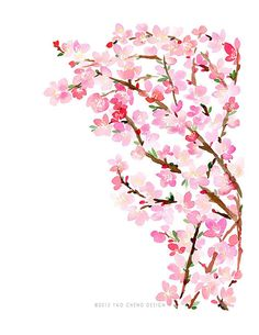 Cherry Blossoms- Watercolor Art Print by Yao Cheng