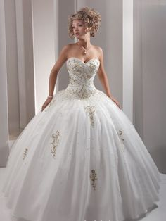 White Quinceanera Dresses - Full Skirt With Gold Embellishments