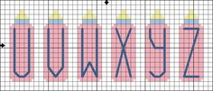 Free Baby Bottle Alphabet - Free Baby-Themed Cross Stitch Pattern: Free Baby Bottle Alphabet Cross Stitch Pattern - Letters U to Z