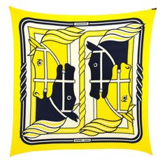 HERMES Yellow & Navy Blue Horse Print 90cm Pleaty Scarf | From a collection of rare vintage scarves at http://www.1stdibs.com/fashion/accessories/scarves/